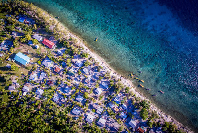 Top down view of Lelepa island day tour village