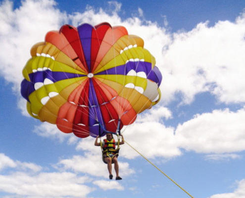 Parasailing over Port Vila Harbour