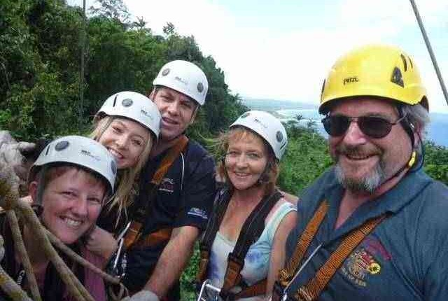 Family at the zipline, Port Vila