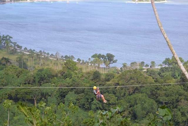 zipline tour overlooks Hideaway island.