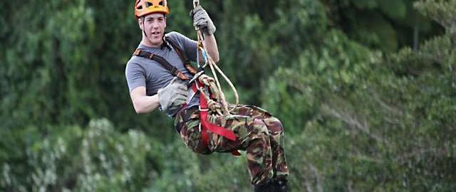 having fun on the zipline in Port Vila