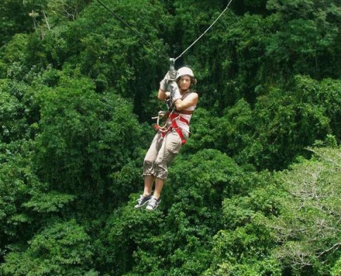 Sailing through the canopy on the zipline in Port Vila, Vanuatu