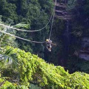 Zipline in Vanuatu goes over waterfall