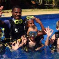 Kids learning how to scuba dive in Vanuatu