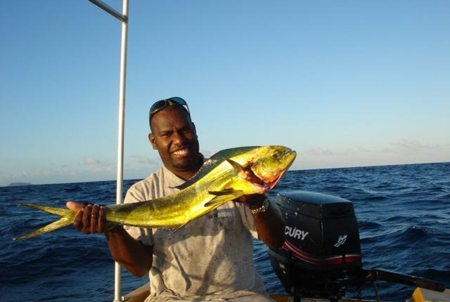 Another great mahi mahi caught on the Lelepa Fishing Tour