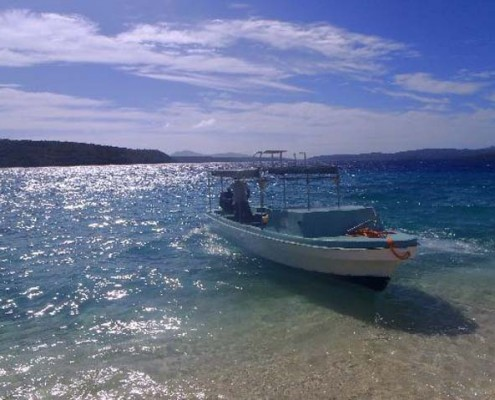 boat at beach on lelepa island