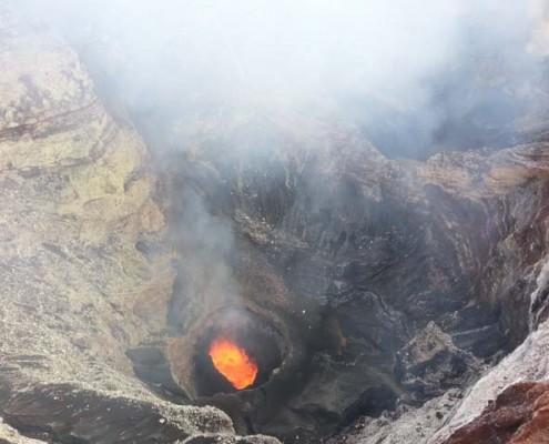 Looking into Volcano on Tour in Vanuatu