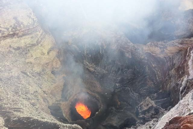 Looking into Volcano on Tour in Vanuatu
