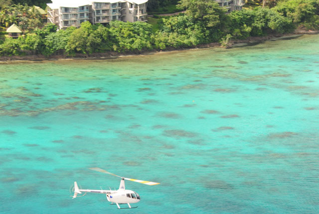 Helicopter and Irirkik resort in Port Vila, Vanuatu