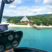 Helicopter over Havannah resort in Vanuatu