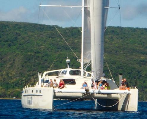 Sailing and snorkelling tour on the New Zealand built Catamaran Vagabond