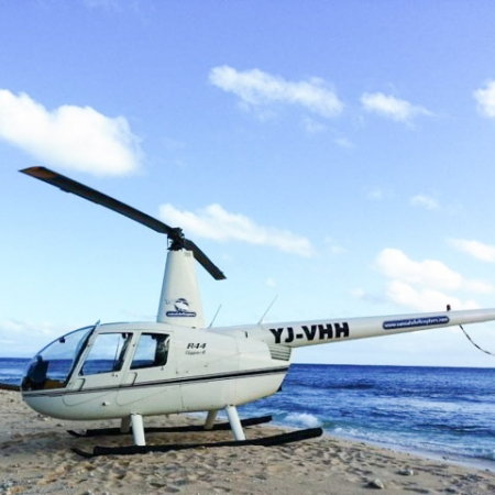 Helicopter on beach in Vanuatu