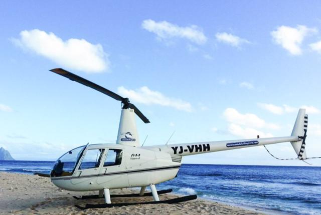 Helicopter on beach in Vanuatu
