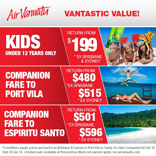 Flights from Sydney and Brisbane to Port Vila are on special