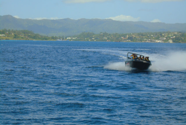 slides and spins on the jet boat in Port Vila