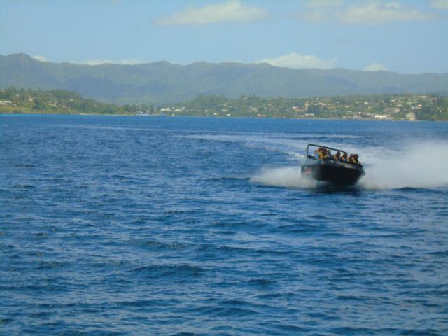 slides and spins on the jet boat in Port Vila