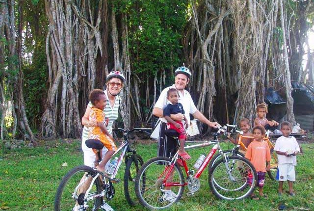 Stopping in the village on a bike ride in Vanuatu