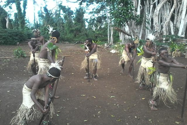 Cultural dancers in a custom village near Port Vila