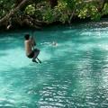 tarzan swing is fun for the whole family at the Blue Lagoon near Port Vila