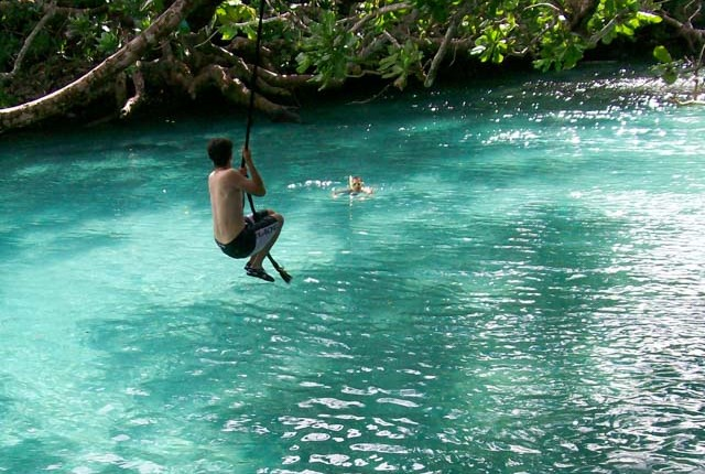 tarzan swing is fun for the whole family at the Blue Lagoon near Port Vila