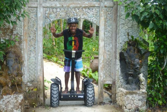 Riding a segway scooter through the Summit gardens in Vanuatu
