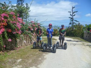 Segway tour passes bougainvillea near Port Vila