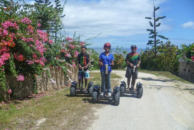 Segway tour passes bougainvillea near Port Vila