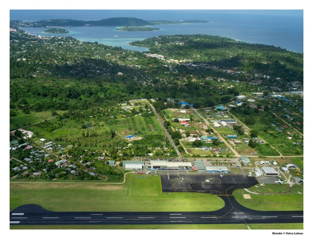 View of Port Vila as you approach the airport